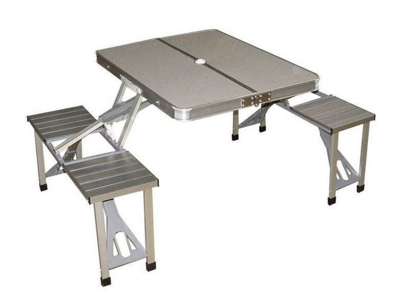Mesa picnic aluminio plegable tienda on line camping for Mesa de camping plegable con sillas